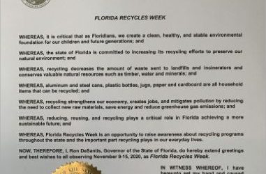 A Message from Governor Ron DeSantis – Observing Florida Recycles Week 2020